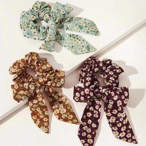 🔥HP!🔥 Floral Daisy Chiffon Bow Knot Scrunchie